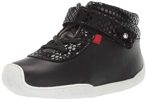 MARC JOSEPH NEW YORK Toddlers Baby Boys/Girls Leather Double High Top Velcro Strap Loafer, Nappa/Black Snake, 10 M US