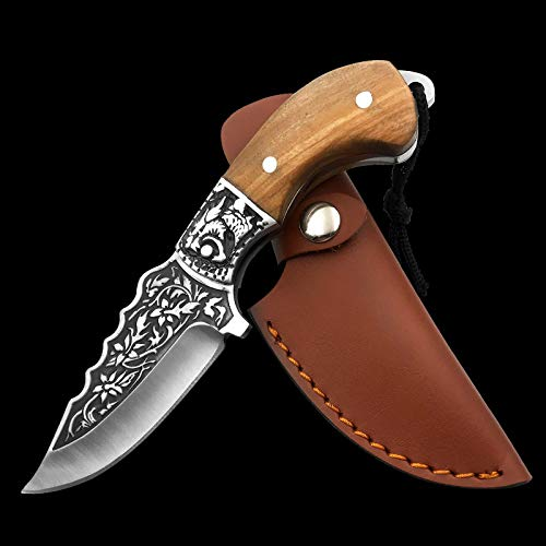 NedFoss Outdoor- Messer mit Leder Holster, Camping Jagdmesser aus eiem stück Stahl gefertigt, mit einzigartigem Muster, Scharf