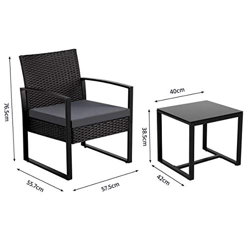 Yaheetech Gartenmöbelset 3 teilig Polyrattan Sitzgruppe Gartengarnitur Balkon-Set Lounge-Set Schwarz mit Sitzkissen - 2