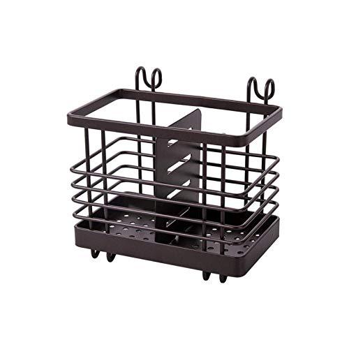 Estante de secado de utensilios de malla metálica para colgar, cesta de drenaje con 2 compartimentos, cesta de drenaje para palillos, cuchara tenedor
