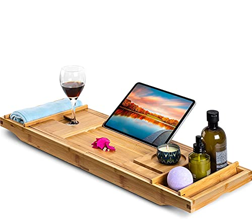 Bamboo Bathtub Caddy Tray, Luxury Expandable Bath Tray for Tub with Wine Tray and Tablet Book Holder, Give a Hair Towel, Bath Caddy Tray Set 2 Pack