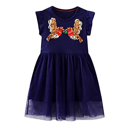 JinBei Bambina Abiti Paillettes Vestito Cotone Ragazze Abito Senza Maniche Estivi Blu Navy Piccolo Uccello Ragazza Tulle Elegante Vestito Gonna T-Shirt Casuale Scuola Abbigliamento 3-4 Anni