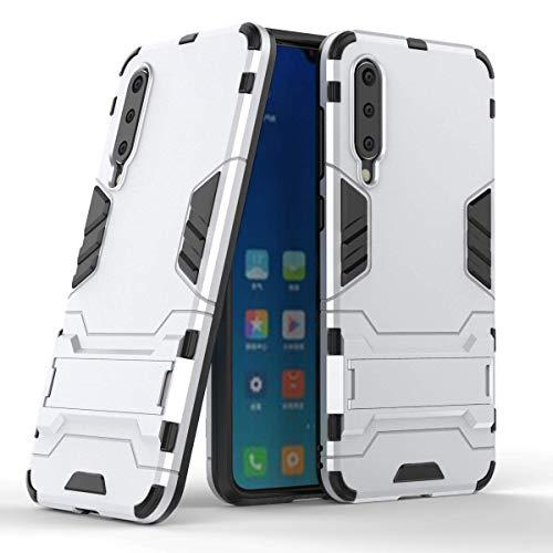 """Max Power Digital Funda para Xiaomi Mi 9 SE (5.97"""") con Soporte - Carcasa rígida antichoque Resistente (Mi 9 SE, Plata)"""