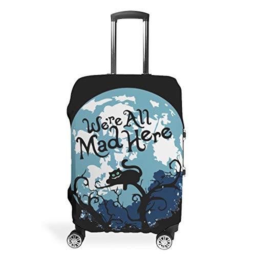 O5KFD & 8 bagagekoffer Cover Protector - We Are All Mad Here Spandex Luggage Cover 4 maten pasvorm beschermende koffer
