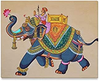 JTMOVING Wall Art Painting Traditional Indian Rajasthani Wall Painting ElephantPrints On Canvas The Picture Landscape Pictures Oil for Home Modern Decoration Print Decor for Living Room