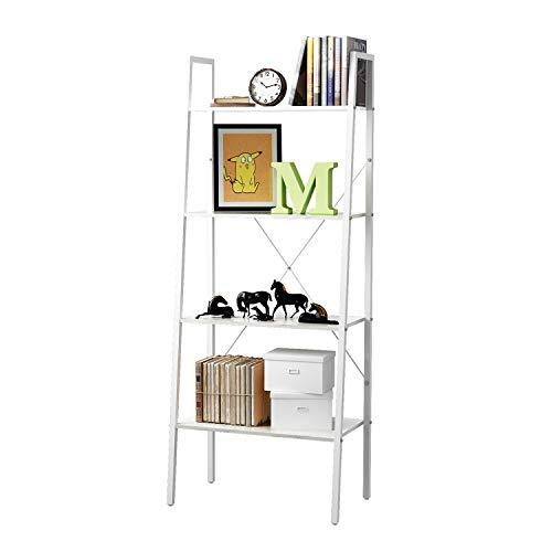 HOME BI 4-Tier Industrial Ladder Shelf Bookcase, Plant Stand Storage Rack Shelves, Vintage Furniture for Living Room, Bedroom, Office, White