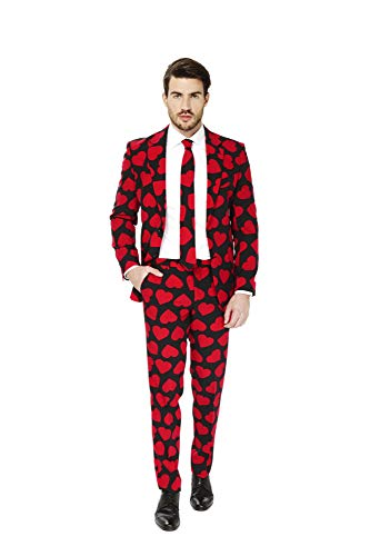 Opposuits Funny Everyday Suits for Men – King of Hearts – Comes with Jacket, Pants and Tie – US 40