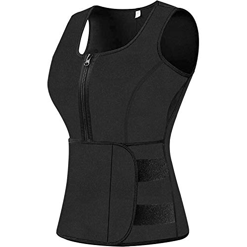 Sweat Vest Waist Trainer for Women Weight Loss Neoprene Sauna Slimming Vest with Adjustable Waist Trimmer Belt Black