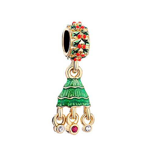 Lifequeen Christmas Tree Red Xmas Red Crystal Charms Beads for Bracelets