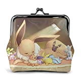 Cartoon Eevee Coin Purse Wallet Purses Credit Cards Pouch Kiss Lock Exquisite Buckle Make Up Cellphone Change Women Leather Cash Coin Purses Wallets