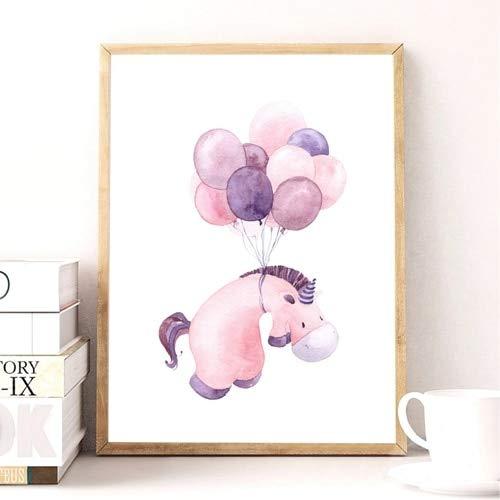 N / A Nettes Nilpferd drucken Bilder Babyzimmer Wanddekoration, Aquarell Cartoon Tier Nilpferd mit Ballon Kinderzimmer Leinwand Kunst Gemälde 40x60 cm ohne Rahmen