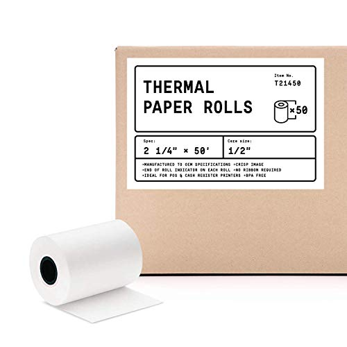 "2 1/4"" X 50' (50 Rolls) BPA Free Thermal Receipt Paper Roll for Verifone VX520 VX670 VX680 VX690, Clover Flex, Ingenico iCT220 iCT250"