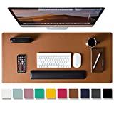 Leather Desk Pad Protector,Mouse Pad,Office Desk Mat, Non-Slip PU Leather Desk Blotter,Laptop Desk Pad,Waterproof Desk Writing Pad for Office and Home (Brown,31.5' x 15.7')
