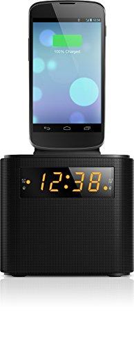 Philips AJ3200/12 Radiowecker/Uhrenradio (Universal-Aufladestation für Smartphones, Digitaler UKW-Tuner, 2 Alarme, Sleep-Timer) Schwarz