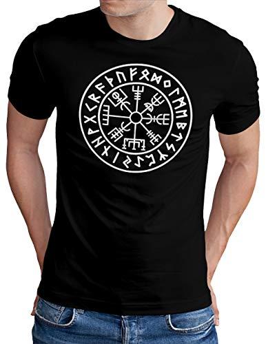 OM3® Vegvisir-Viking-Compass T-Shirt | Herren | Odin Runen Wikinger Symbol Nordic Warrior | Schwarz, M