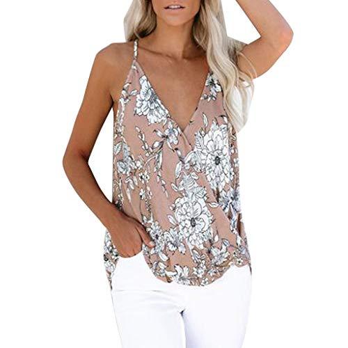 satiny Damen Tank Top Frauen Mode V-Ausschnitt Sexy Weste Sommer Camisole Ärmelloses T-Shirt Locker Lässiges Shirt Oberteil Blumendruck Damentops Blusenshirt