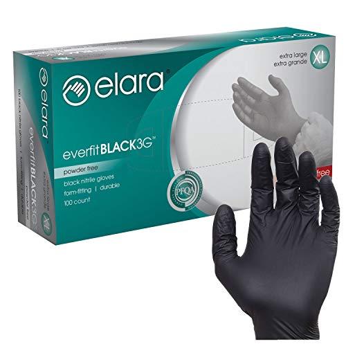 Elara FNE304BK EverfitBLACK3G Nitrile Disposable Gloves, 3 mil, Black, Powder Free, Food Safe, Non-Latex, Size X-Large, Box of 100 (FNE304BK-100)