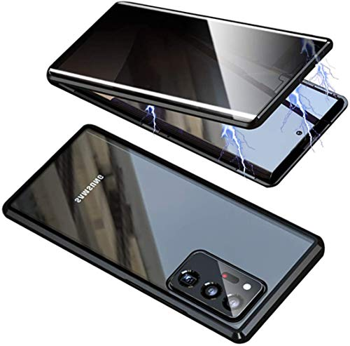 ONEYMM Funda para Samsung Galaxy S20 FE 5G Carcasa Adsorción Magnética Metal Caso Cobertura Anti espía Vidrio Templado Case Cover,Negro,for Samsung S20 FE