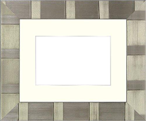 写真用額縁 8108/シルバー パノラマ(254×89mm) ガラス マット付(銀色細縁付き) マット色:黒