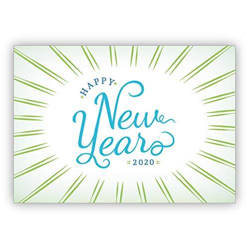 1 kerstgroet coole Nieuwjaar/oudejaarsavond kaart in groen blauw: Happy New Year 2020 • als liefdevolle wenskaart voor Kerstmis, Nieuwjaar, oudejaar voor familie en bedrijf