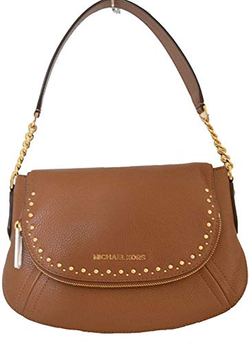 """INSIDE HAS SIGNATURE MICHAEL KORS LOGO LINING, BACK WALL ZIP POCKET & MULTI-FUNCTION SLIP POCKET GOLD-TONE HARDWARE WIDE SHOULDER STRAP WITH CHAIN DETAIL; APPROX. 8"""" DROP DETACHABLE SHOULDER STRAP. FRONT AND BACK FULL SLIP POCKETS. MEASURES APPROX.8...."""