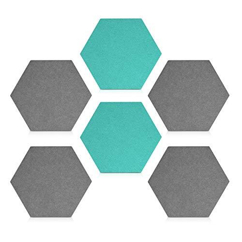 Navaris Filz Memoboards Set sechseckig - 6x Filz Pinnwand 15x17,7x1,5cm mit Stecknadeln und Klebeband - Filzboard für Küche und Büro - Grau Türkis