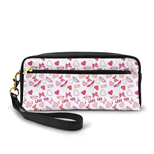 Pencil Case Pen Bag Pouch Stationary,Romance Related Images in Pink Pattern with Bows Lips Valentines Hearts,Small Makeup Bag Coin Purse