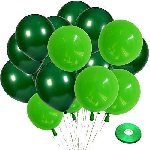 Zesliwy Paquete de 100 globos de látex verde, globos de 12.0in de color verde oscuro y globos verdes claros con cinta verde para selva, safari temático, fiesta de cumpleaños, baby shower, día de San Patricio, fiesta de fiesta demográfica.