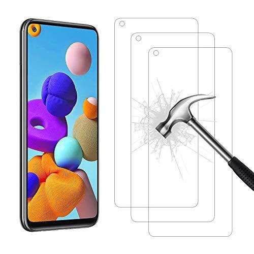 AHABIPERS 3 Stück Panzerglas Schutzfolie für Samsung Galaxy A21S Panzerglas, HD Displayschutzfolie, 9H Härte Schutzfolie, Anti-Kratzer/Bläschen/Fingerabdruck/Staub Panzerglasfolie für Samsung A21S