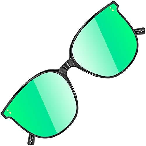 ATTCL Gafas de sol redondas grandes con protección UV400 Marco TR90 JD222 Black+green