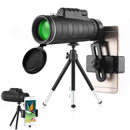 Monokulares Teleskop, 40x60 Hochleistungs-HD-Monokular für Vogelbeobachtung Erwachsene mit Smartphone-Halter und Stativ BAK4 Prisma für Wildtierjagd Camping Reisende Wildtiere - 2021 Neueste