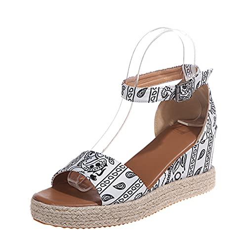 Sandalias Mujer Verano Plataforma Alpargatas Esparto Cuña Zapato Hebilla Punta Abierta Comodas