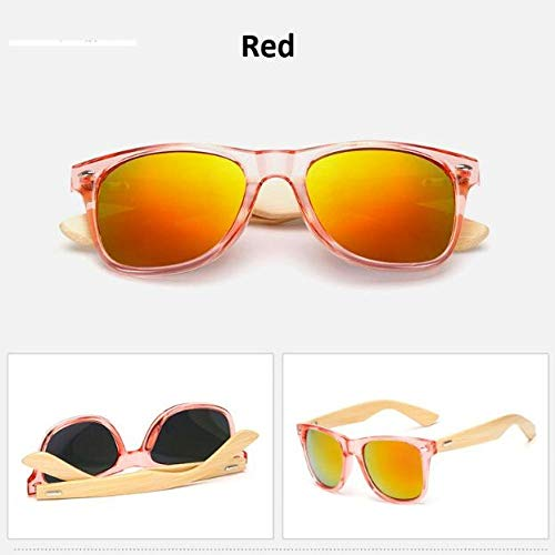 Yangjing-hl Gafas de Sol de Madera Retro para Mujer Gafas de Sol de bambú para Mujer Gafas clásicas de Marca Espejo Dorado Gafas de Sol Sombras Lunette Oculo