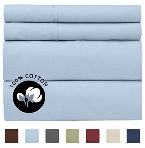 100% Cotton Full Sheets Blue 4pc Silky Smooth Cooling 400 Thread Count Long Staple Combed Cotton Full Sheet Set – 400TC High Thread Count Full Sheets Full Bed Sheets Cotton All Cotton 100% Cotton