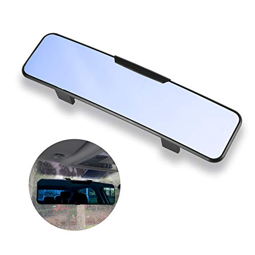 LivTee Anti Glare Rear View Mirror 11.2''(285mm), Wide Angle Panoramic Convex Curve Rearview Mirror Clip on Original Mirror to Eliminate Blind Spot and Antiglare for Cars SUV Trucks