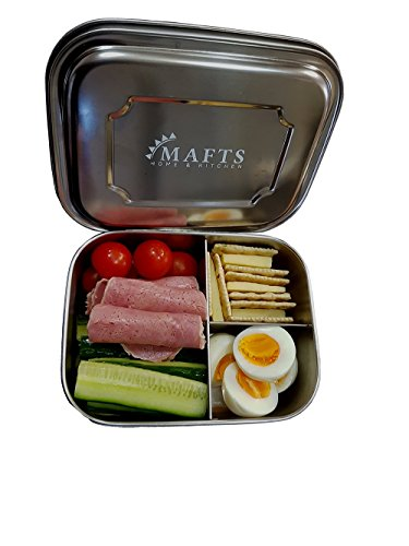 Lunch box for kids and adults Stainless steel food container Bento lunch box this food storage has 3 compartments dishwasher safe BPA free and Eco friendly for the whole family