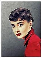 大人のための数字によるDIYの絵画初初心者の初心者の絵画でキャンバスのキットで塗る数字キットクリスマスの家の装飾 - Audrey Hepburnを赤くする (Size : 30x40cm)