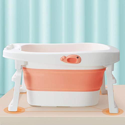 LYzpf Bathtub Bagno Bambini Rettangolo Pieghevole Sicuro Vaschetta Portatile Camera Risparmiare Spazio Bagnetto Vasca per Kids di 0-15 Anni,Orange