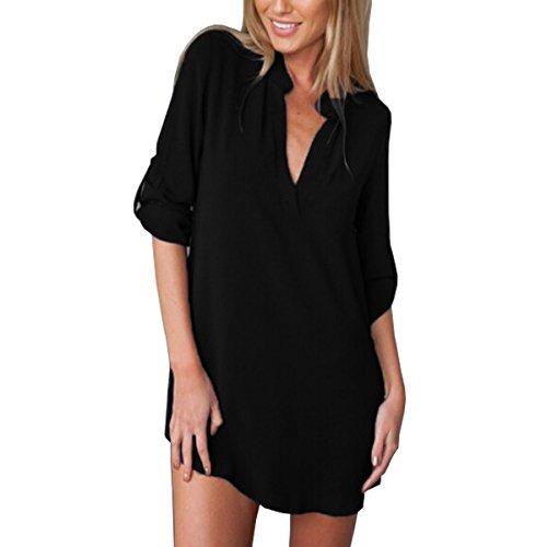 Zanzea Damen Chiffon Tunika Bluse Shirt Sommer Badeanzug Strand Cover Up Shirt Bikini Beachwear Badeanzug Strandkleid -  Schwarz -  46