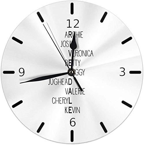 Kncsru Stille, Nicht tickende runde Wanduhren, von der Riverdale High School inspirierte Charaktere, Uhren mit batteriebetriebenem Quarz Analog Quiet Desk Clock