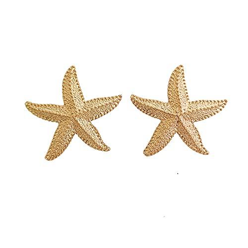 S925 Aguja de plata Pendientes europeos y americanos Pendientes de estrella de cinco puntas Pendientes de estrella de mar de tono estéreo A