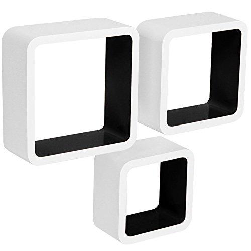 WOLTU Estante de Pared Estantería Cubo Madera Estante Decorativo Conjunto de 3 Estante Colgante Retro Negro/Blanco RG9236sz
