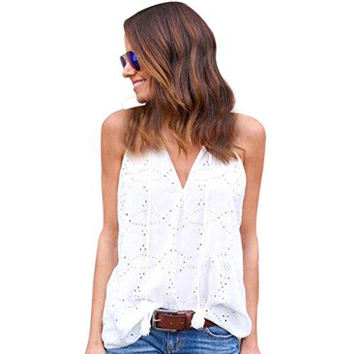 VJGOAL Damen Tank Top, Damen Sexy V-Kragen Spitzenpullover Solides Parteien T-Shirt Lässige ärmellose Sommer Strandbluse (L, Weiß)