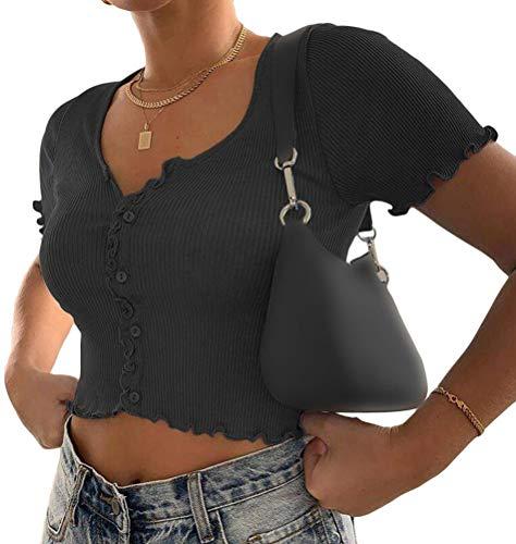 Minetom Damen Mädchen Oberteile T-Shirt Kurzarm Crop Top Kurz Shirts Sommer Sexy Schick Knopf Einfarbig Slim Bluse Streetwear D Schwarz 34