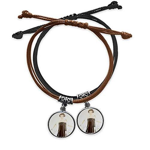 DIYthinker Beauty Egrets Chinese Style Watercolor Bracelet Double Leather Rope Wristband Couple Set Gift