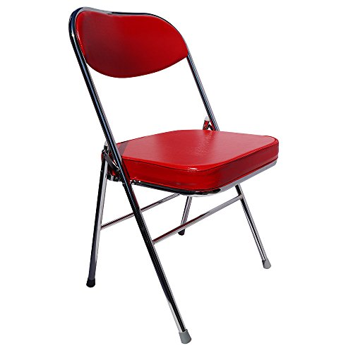 YIHAI FURNITURE FURNITURE Yi Hai Folding Office Chair Thick Padded,Metal,red,Set of One