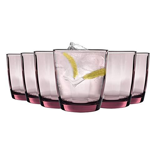 Bormioli Rocco boire en verre Pulsar Facettes Gobelets - Rock Pourpre - 300ml - Paquet de 6