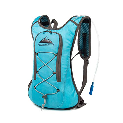 Professional OverTheHills Hydration Backpack with 2L Water Bag and Straw | Comfortable, Lightweight, Rip-resistant, Waterproof Bag | Perfect for Running, Cycling, Climbing, Camping and Biking (Blue)