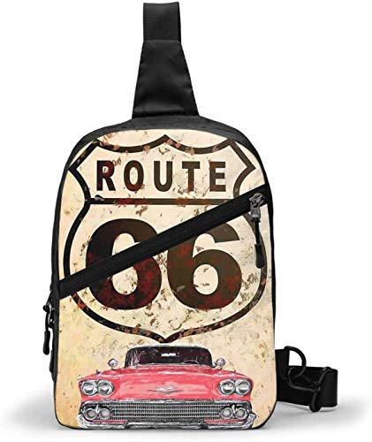 Vintage Route 66 Motorcycle UK Sling Bag,Crossbody Shoulder Chest Outdoor Hiking Travel Personal Pocket Bag for Women Men Water Resistance