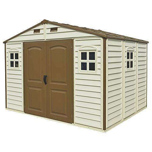 Gartenhaus aus PVC Woodside 325 x 240 cm Farbe Beige und Braun